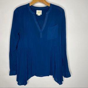 Maeve   Blue Laiken Long Sleeve Peplum Blouse